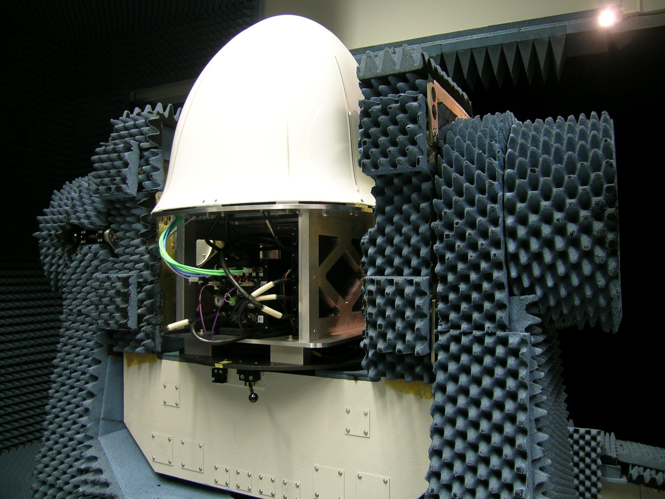 HENSOLDT's collision-warning radar, with a newly developed radome (aircraft nose), in the test chamber.
